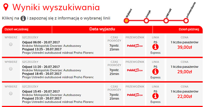 Приклад бронювання Краків - Прага на сайті Polskibus