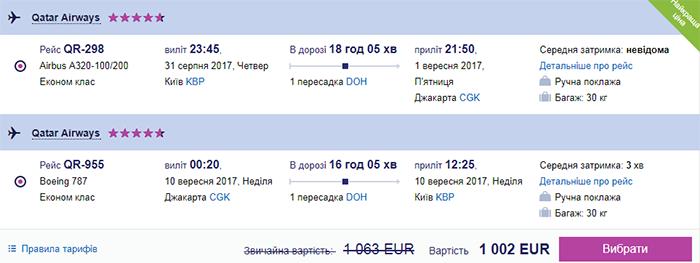 Приклад бронювання Київ - Джакарта - Київ