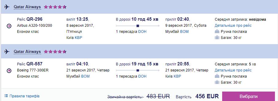 Приклад бронювання Київ - Мумбаї - Київ