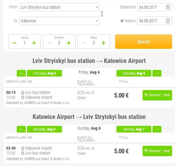 Львів - Катовіце - Львів FlixBus