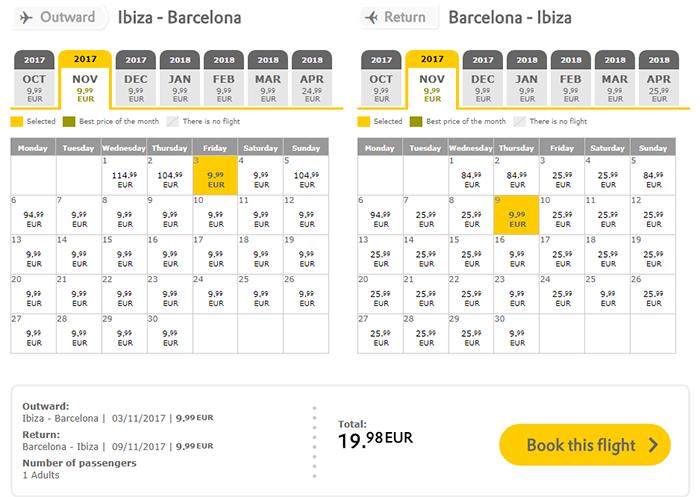 Приклад бронювання Ібіца - Барселона - Ібіца на сайті Vueling