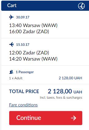 Приклад бронювання Варшава - Задар - Варшава від LOT
