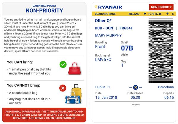 Приклад стандартного посадкового квитка: