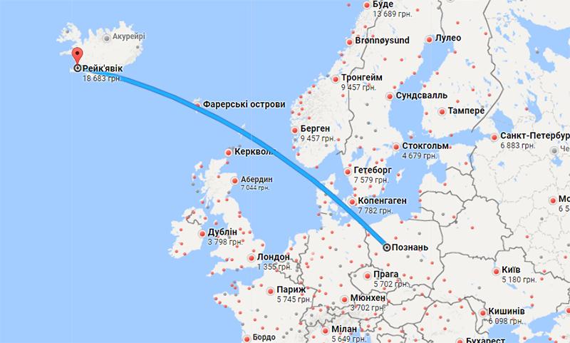 Карта маршруту Познань - Рейк'явік (Google Flights)