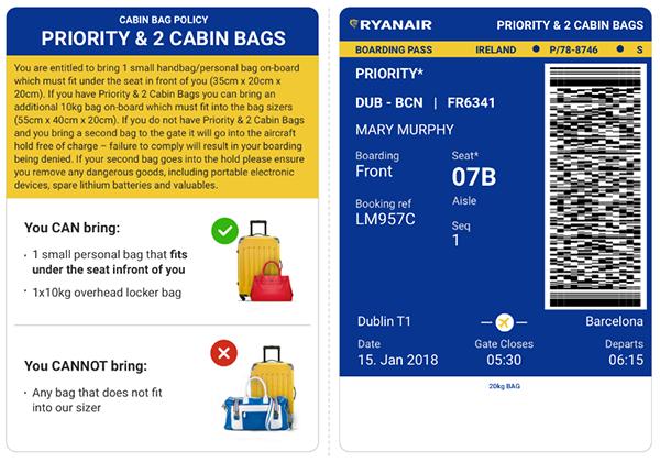 Приклад посадкового квитка з приорітетною посадкою: