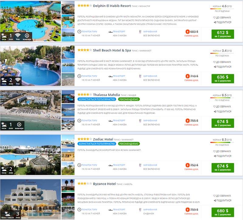 Бронювання туру гарячого туру в Туніс на 19 жовтня (ціна вказана на 2-х осіб)