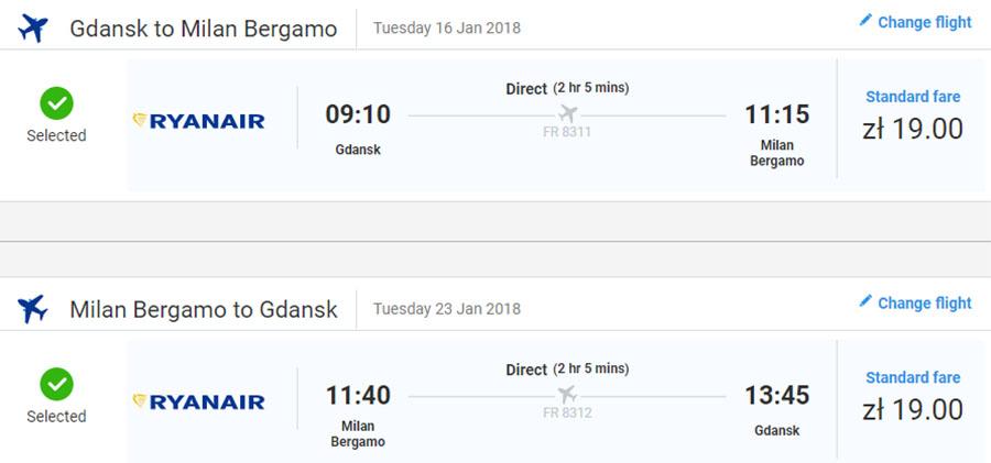 Приклад бронювання перельоту Гданськ - Мілан (Бергамо) - Гданськ на сайті Ryanair