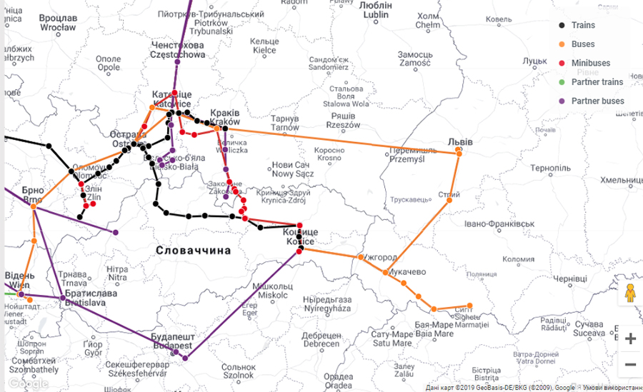Карта маршрутів Leo Express (інтерактивна)