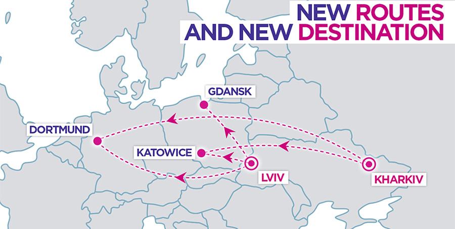Карта нових маршрутів Wizz Air