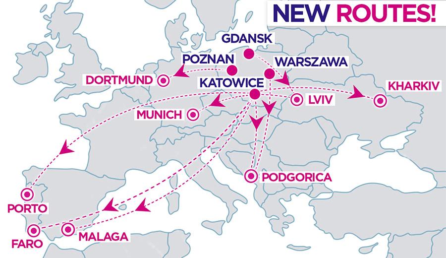 Карта нових напрямків Wizz Air з Польщі
