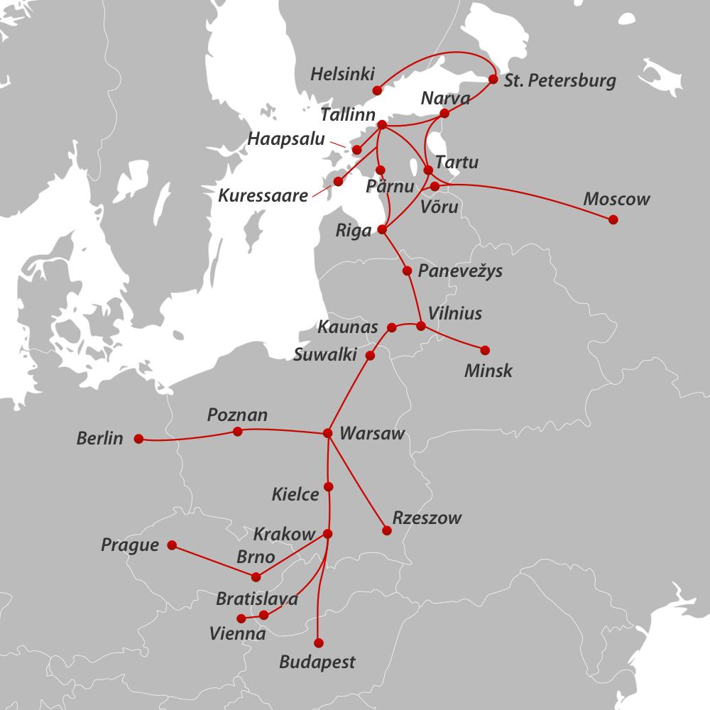Lux Express - карта маршрутів