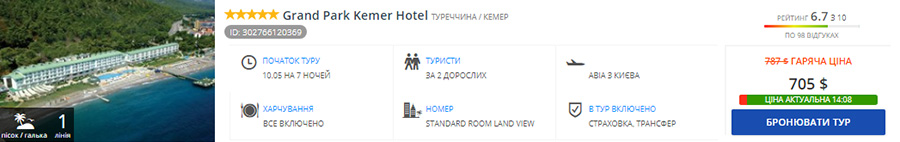 Grand Park Kemer Hotel 5*, все включено