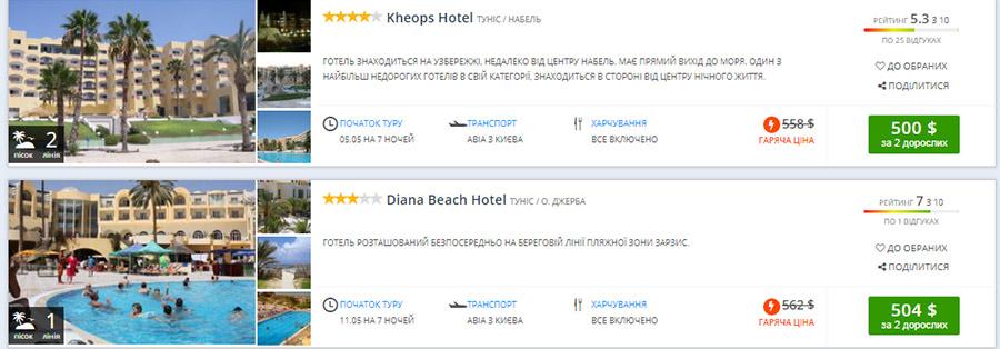 Приклад бронювання туру All inclusive із Києва в Туніс (ціна вказана на 2-х осіб)