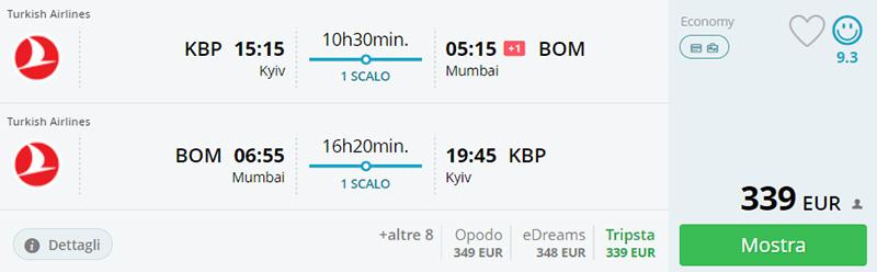 Приклад бронювання Київ - Мумбаї - Київ на сайті Момондо.іт