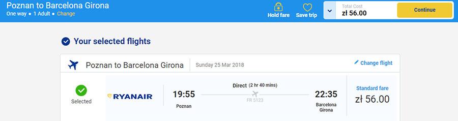 Бронювання Познань - Барселона за 13.4€ (56zl):