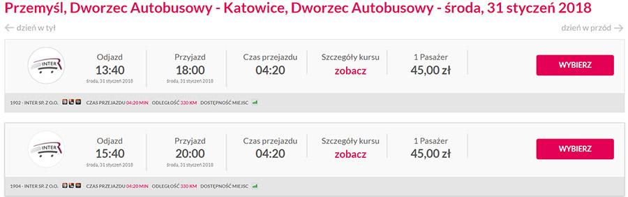 Приклад бронювання поїздки Перемишль - Катовіце на сайті bileteria-online.pl