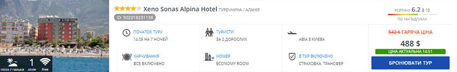 Xeno Sonas Alpina Hotel 4*, Аланія