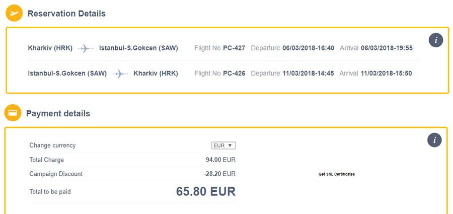 Сторінка оплати за переліт Харків - Стамбул - Харків після застосування 30% знижки