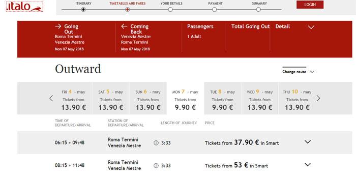 Приклд бронювання квитка на потяг з Риму у Венецію