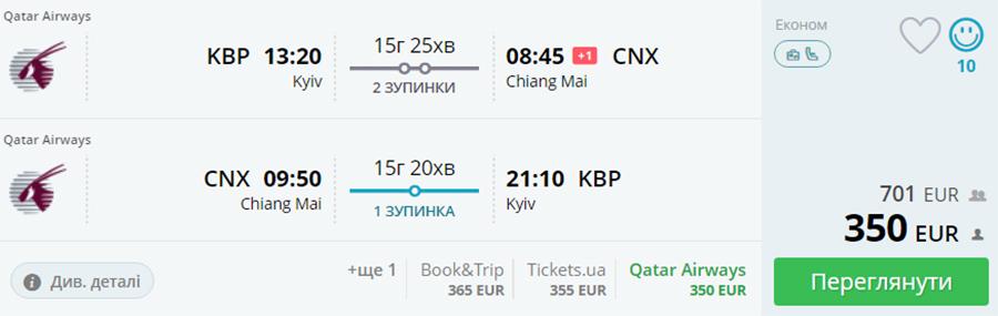 Бронювання авіаквитків Київ - Чіанг-Мей - Київ на сайті Momondo.ua
