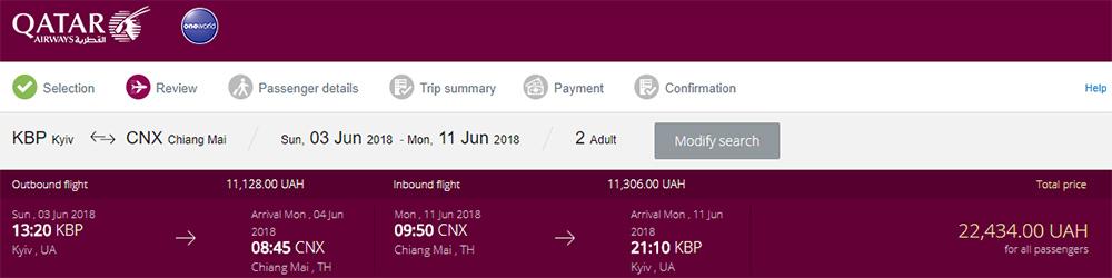 Приклад бронювання Київ - Чіанг Маі - Київ на сайті Qatar Airways