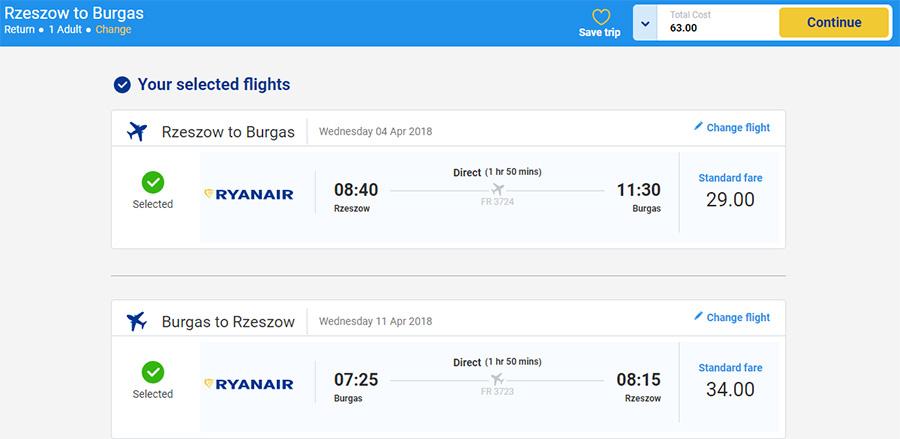 Приклад бронювання перельоту Ряшів - Бургас - Ряшів на сайті Ryanair (63 zl = 14.9€)