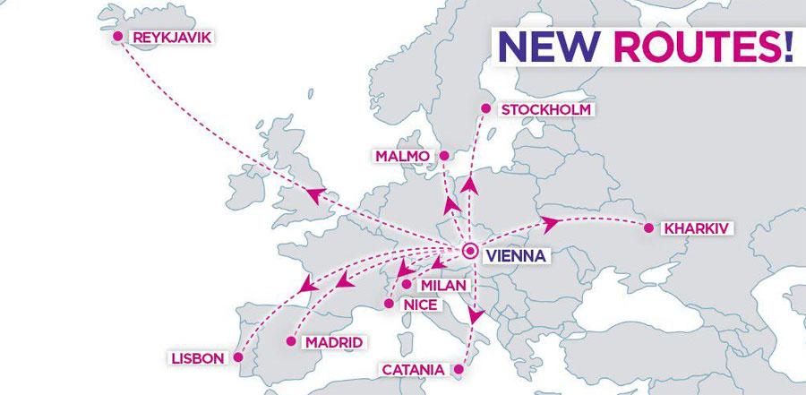 Нові напрямки WizzAir з Відня