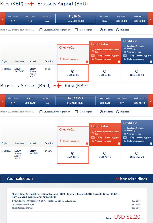 Приклад бронювання авіаквитків Київ - Брюссель - Київ на сайтіBrussels Airlines: