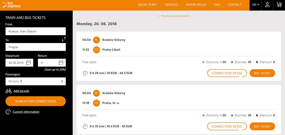 Приклад бронювання квитків на потяг Краків - Прага на сайті Leo Express