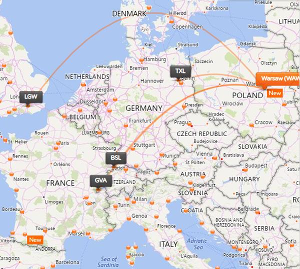 easyJet нові рейси з Варшаваи