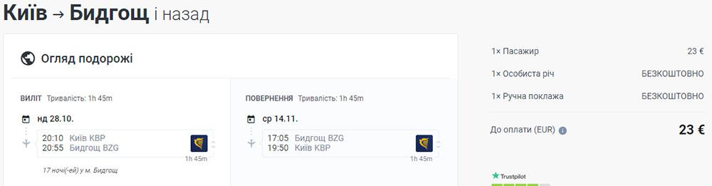 Бронювання авіаквитків Ryanair Київ - Бидгощ - Київ