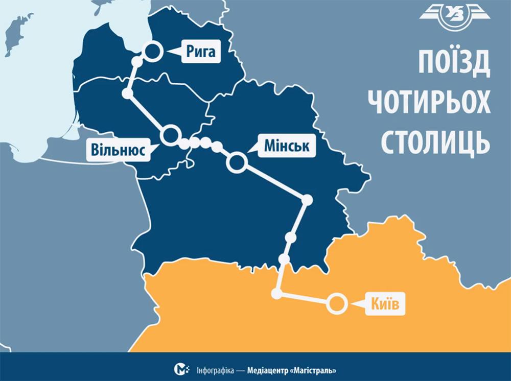 Потяг чотирьох столиць - карта