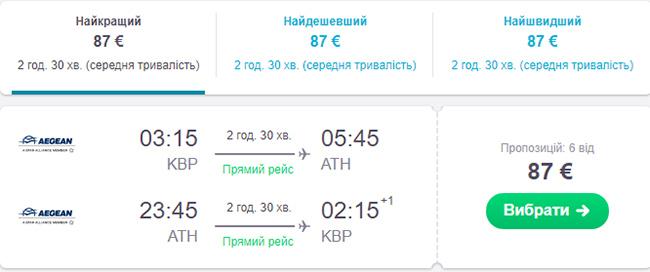 Бронювання авіаквитків Київ - Афіни - Київ на сайті Skyscanner