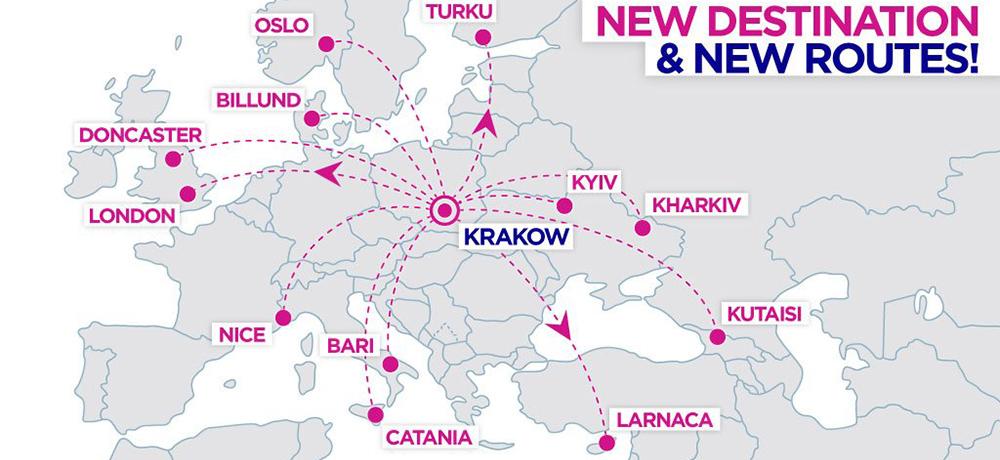 Карта напрямків Wizz Air з Кракова