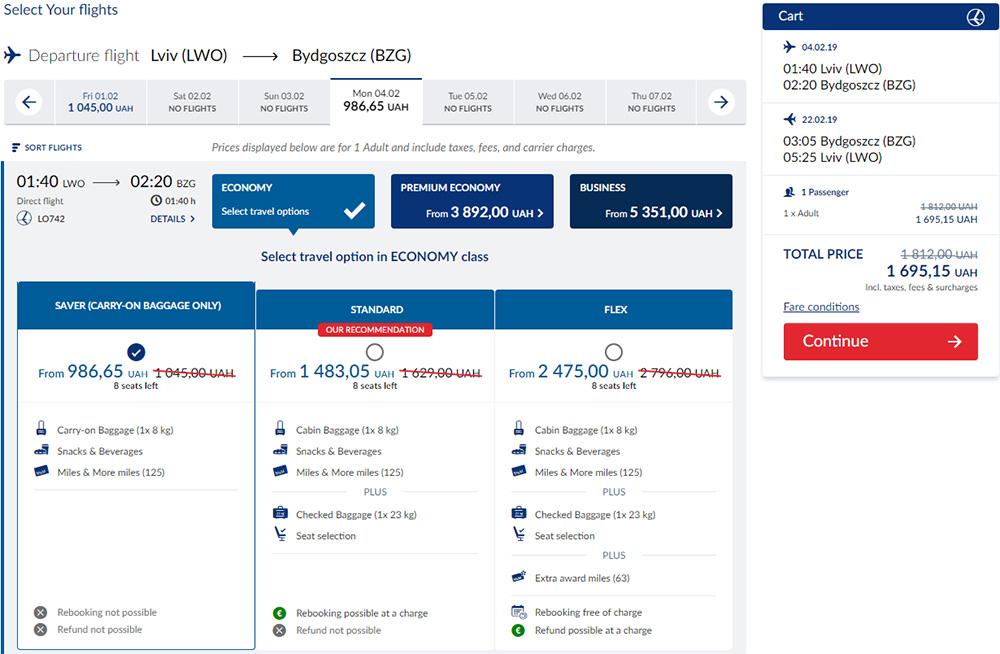 Приклад бронювання авіаквитків Львів - Бидгощ - Львів на сайті LOT