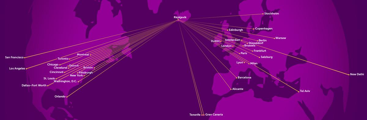 Маршрутна карта WOW Air: