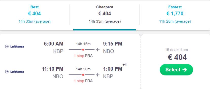 Авіаквитки Київ - Найробі - Київ на сайті Skyscanner