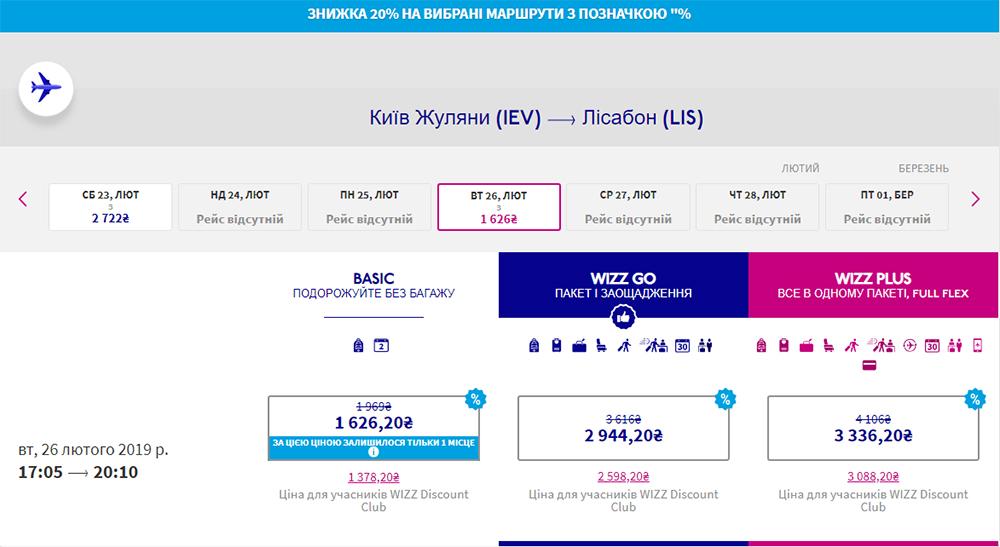 Авіаквитки Київ - Лісабон у жовтні 2019 року