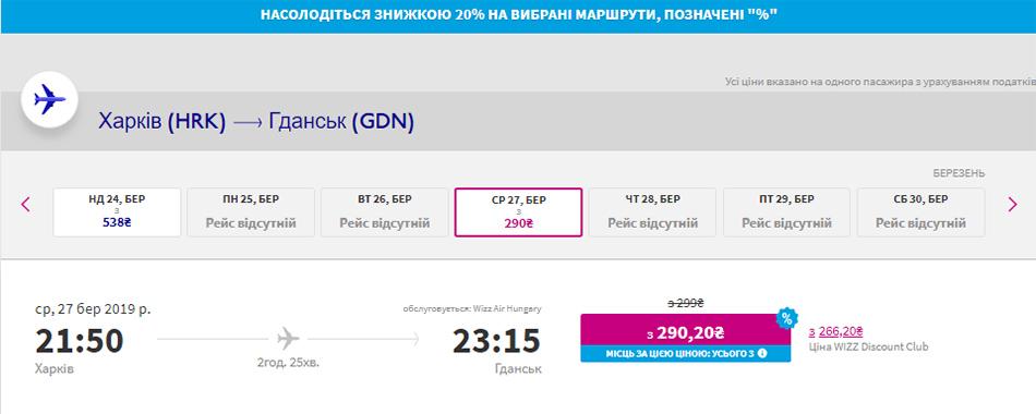 Авіаквитки Харків - Гданськ з дисконтом 20%