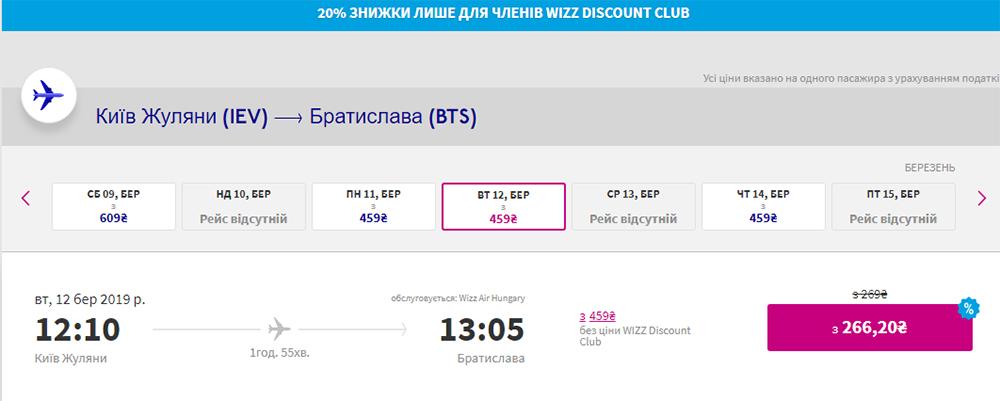 Київ - Братислава зі знижкою клубу Wizz Discount Club