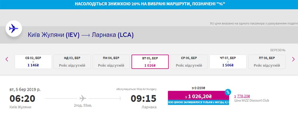 Авіаквитки Київ - Ларнака на зі знижкою сайті Візз Ейр