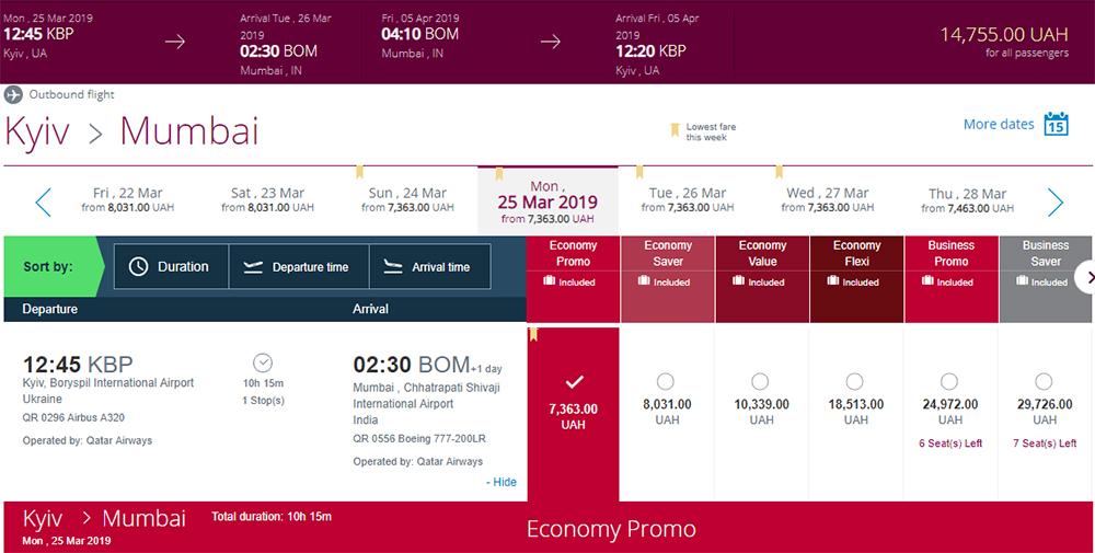 Приклад бронювання авіаквитків Київ - Мумбаї - Київ на сайті Qatar Airways