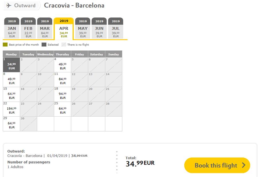 Авіаквитки Краків - Барселона на сайті Вуелінг: