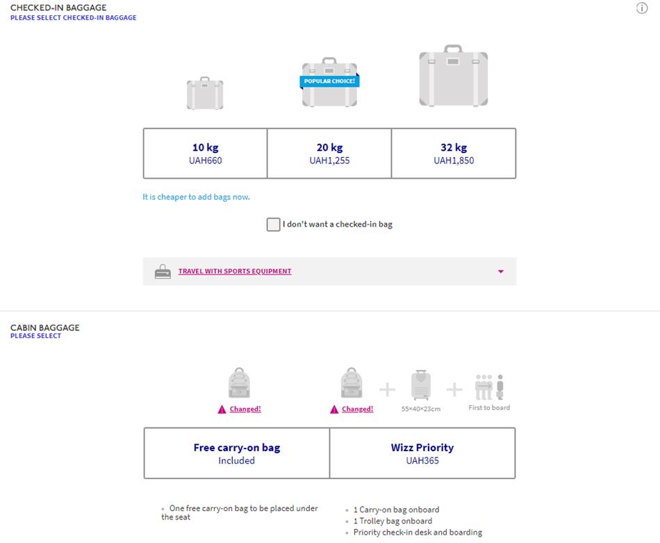 Приклад цін на додаткові послуги до рейсу із Києва в Ларнаку у високий сезон