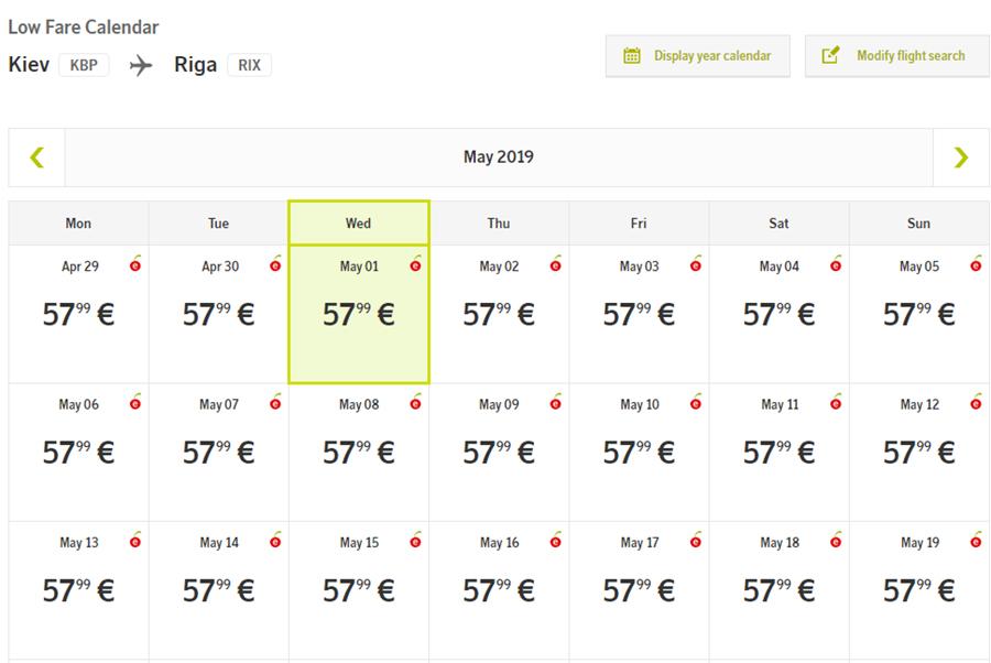 Календар цін на квитки Київ - Рига