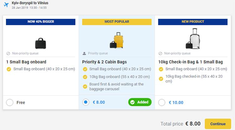Авіаквитки з Києва у Вільнюс з підвищеною ціною за Priority Boarding
