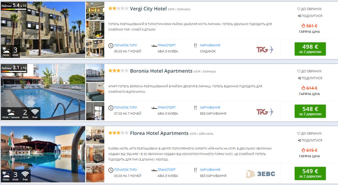 Пакетні тури на Кіпр з вильотом із Києва в березні (ціна вказана на двох осіб)