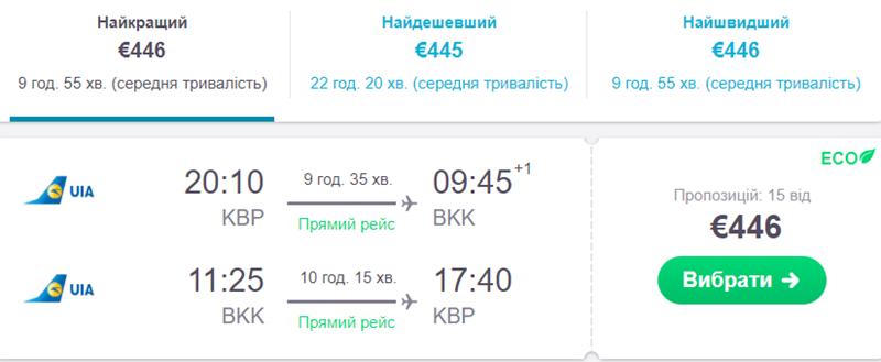 Авіаквитки Київ - Бангкок - Київ на сайті SkyScanner
