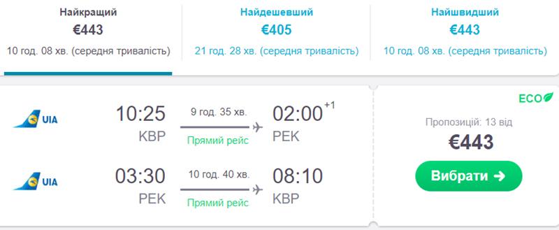 """Квитки на переліт із Києва в Пекін """"туди-назад"""""""