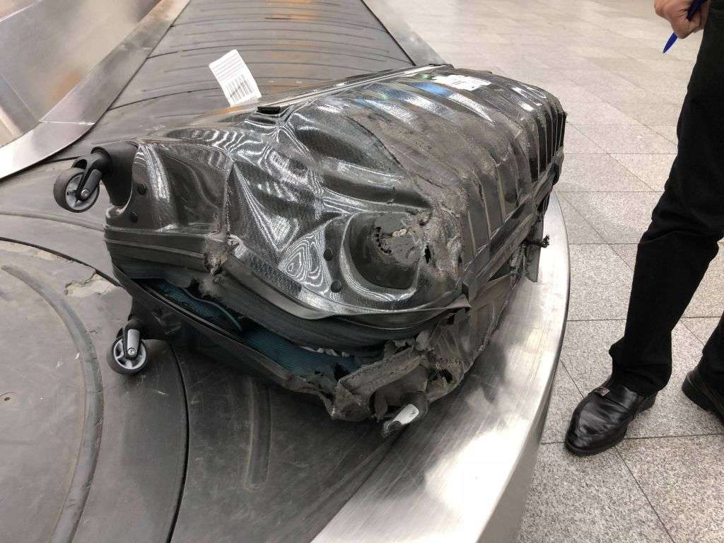 damaged luggage at airport